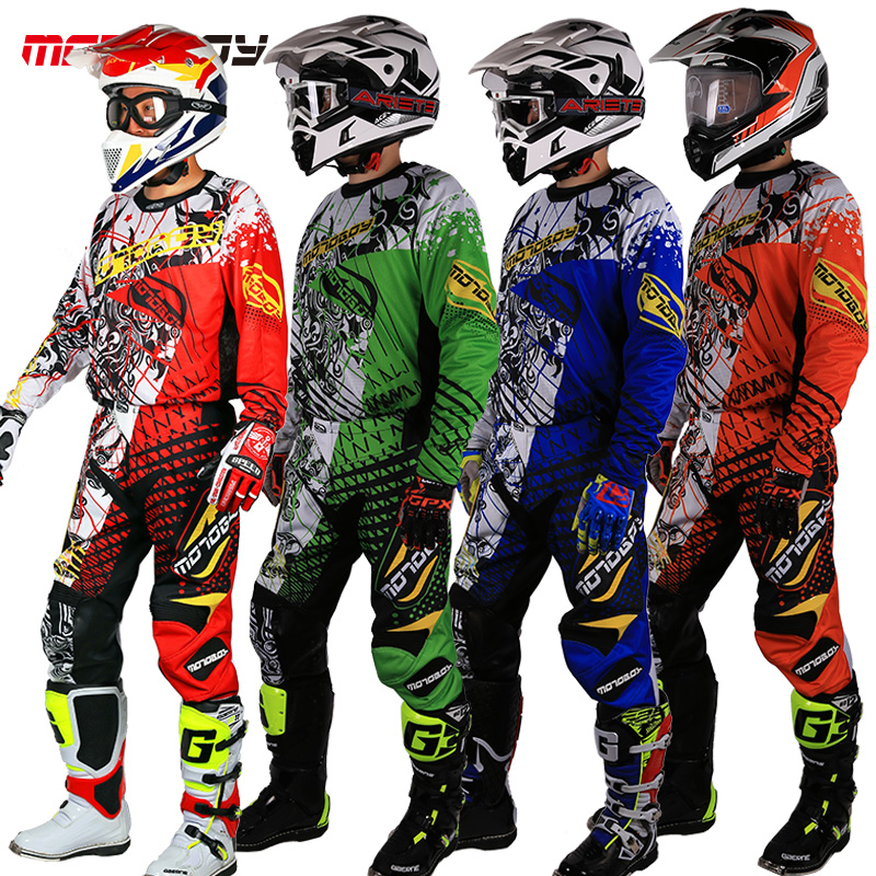 New Design Motocross Race Suit Men Big Size M 3XL 4XL Blue Green Ktm Dirt Bike Off-road Clothing For Motorcycle Jersey Suit
