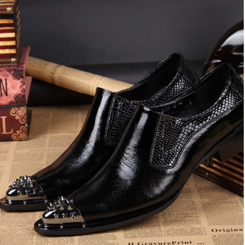 Mens Dress Shoes Genuine Leather Italian Luxury Quality Pointed Toe Slip On Metal Rivets Wedding Flats Men Formal Business Shoes fashion top brand italian designer mens wedding shoes men polish patent leather luxury dress shoes man flats for business 2016