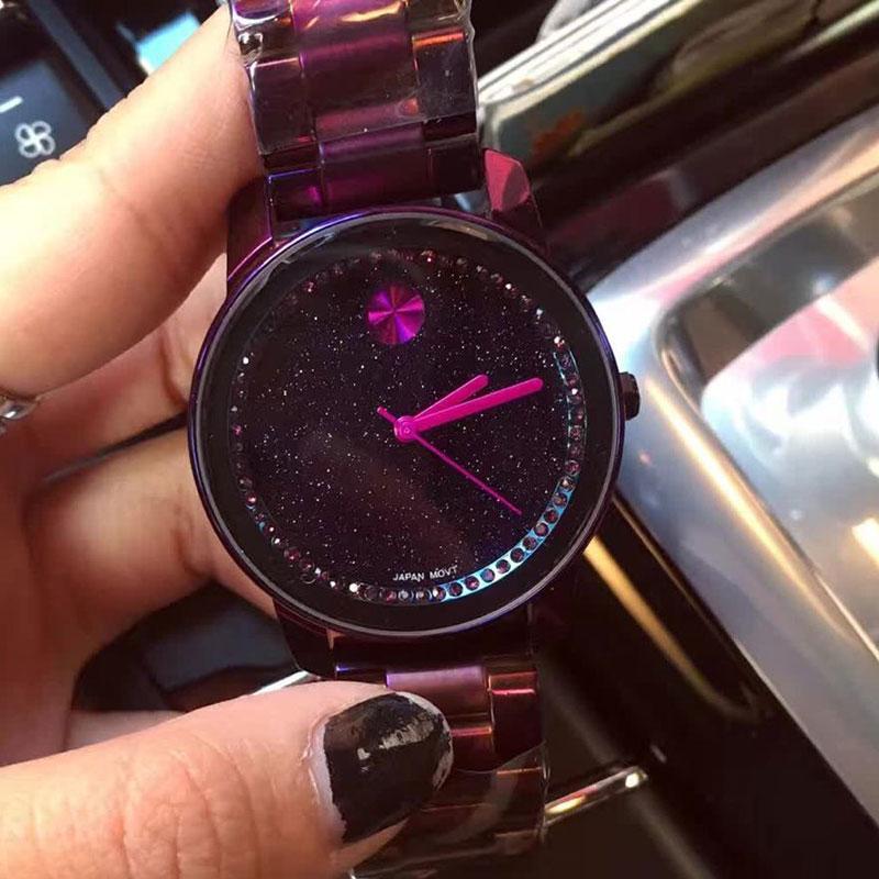 ФОТО Top Quality Brand Women Rhinestone Watches Lady Shining Dress Watch Big Diamond Stone Wristwatch Lady purple Watch relojes