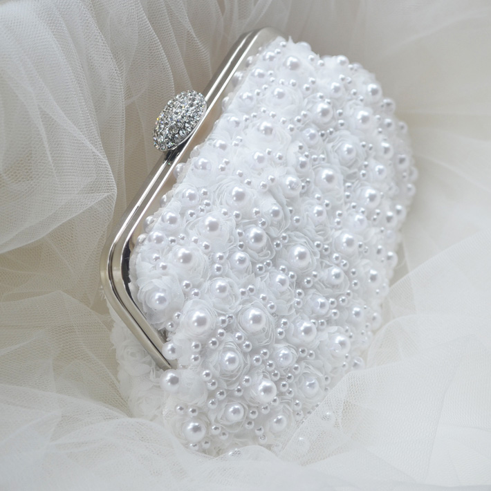 Bridal Bag Pearl Lace rose Bag Wedding Bag Women Handbag clutches Free Shipping