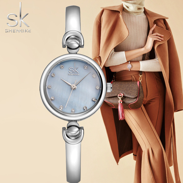 Shengke Fashion Women's Bracelet Watches Stainless Steel Waterproof Quartz Woman