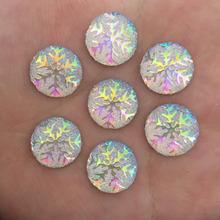 (20 pieces/lot)  14mm Resin AB color snowflake round/FlatBack Appliques/Christmas DIY craft  C002