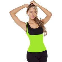 Sweat Thermal Light Green Body Shaper Sweat Neoprene Vest Thermo Top T Shirt Corset Shapewear L42657-4