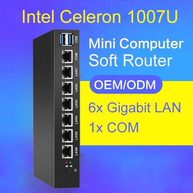 Soft Router Mini PC with 6x Ethernet Gigabit LAN Intel 82583V NIC Multi Network COM Serial