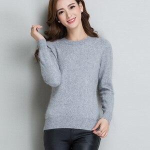 Image 2 - Pull à manches longues pour femmes, 100% vison, col roulé tricoté, ample, doux et chaud, couleur unie, hiver S XXL