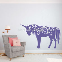 Unicorn Horse Wall Decal Home Decor Sticker Art Vinyl Wall Stickers for Nursery Kids Bedroom Gril Room Decoration