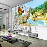 Beibehang Inicio Pinturas Decorativas de Interior 3D Wallpaper Estéreo Dinosaurio Paredes TV Fondo Dormitorio papel de parede 3d wallpaper