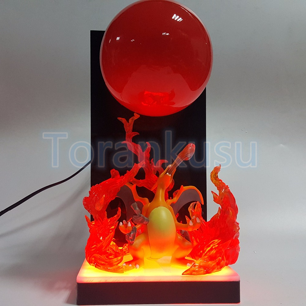 Charizard PVC Action Figure DIY Anime Pikachu Figurine Fire Ball Led Bulb Base Diorama Charizard Model Toy DIY 93 5 pcs lot cartoon anime wallet wholesale nintendo game pocket monster charizard pikachu wallet poke wallet pokemon go billetera