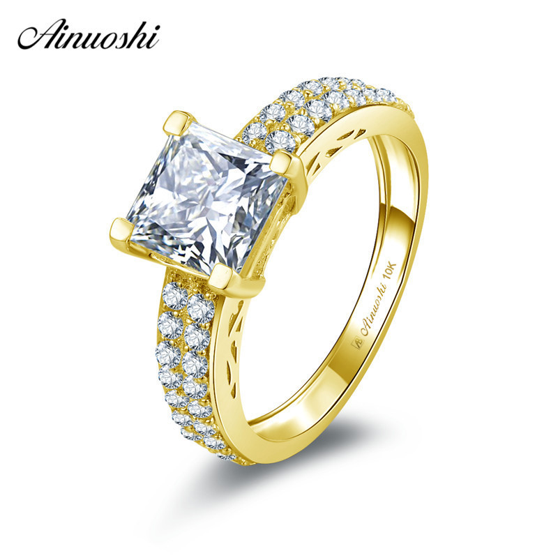 AINUOSHI 10k Solid Yellow Gold Square Ring 1.6ct Princess Cut Wedding Engagement Jewelry Bridal Band Bague 2 Rows CZ Ring AnilloAINUOSHI 10k Solid Yellow Gold Square Ring 1.6ct Princess Cut Wedding Engagement Jewelry Bridal Band Bague 2 Rows CZ Ring Anillo