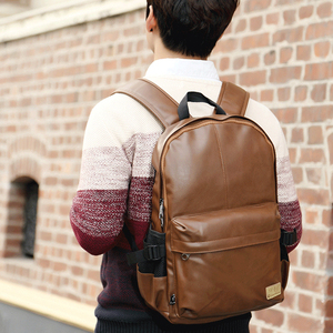 Image 4 - Three box 2017 Brand Leather Mens Backpack Fashion Three Colour Travel Backpack Laptop Vintage Leather School Bag Weekend Bags