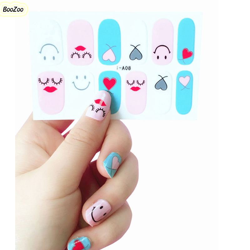 2018 Latest Fashional Manicure Self-Adhesive Nail Wraps Full Wraps Nail Sticker Full Cover Facial Expression Funy Smiling Faces