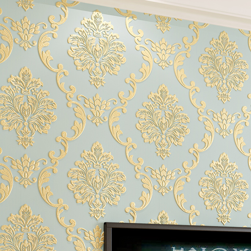 European Style Non-woven Wallpaper Luxury Damask 3D Stereoscopic Relief Damascus Bedroom Living Room Wall Paper Home Decor Paper цена