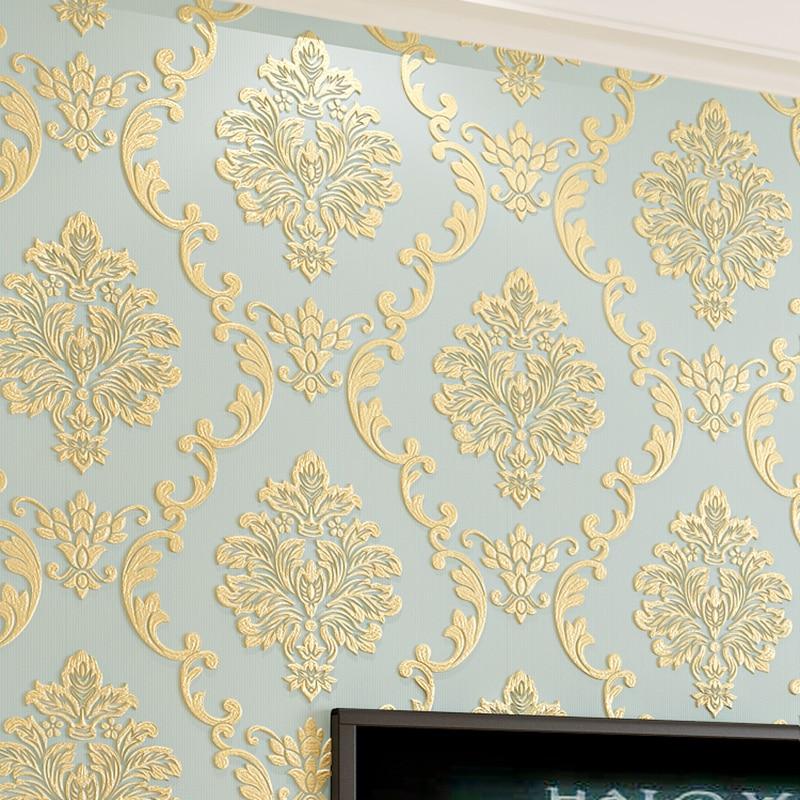 European Style Non-woven Wallpaper Luxury Damask 3D ...