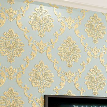 European Style Non-woven Wallpaper Luxury Damask 3D Stereoscopic Relief Damascus Bedroom Living Room Wall Paper Home Decor Paper Wallpapers