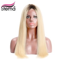 Stema Brazilian 1b/613 Ombre Blonde 4x4 Lace Front Wig Black Root Natural Hairline Straight Human Remy Hair Free shipping