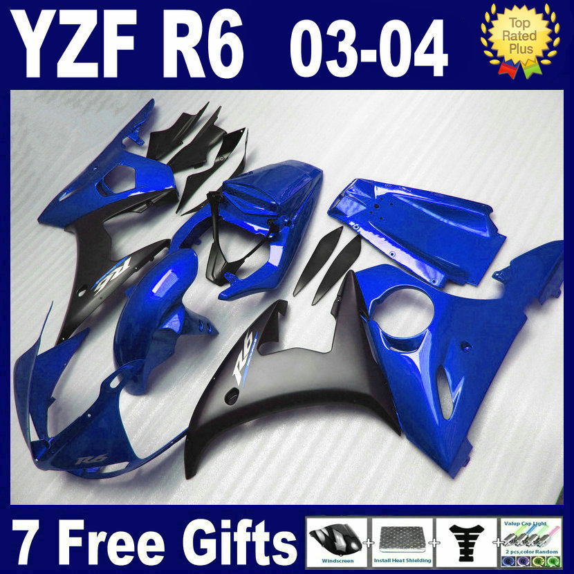 Customize Professional Road race fairing kits For Yamaha YZF R6 2003 2004 2005 plastics YZFR6  04 03 aftermarket fairings bodyki road race motorcycle fairings kit for yamaha r6 2003 2004 2005 yzf r6 03 04 05 black silver fairing kits bodywork part