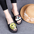 2017 Summer New Handmade Flowers Women Beach Slippers Women's Holiday Shoes Flats Cheap