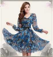 Heißer Verkauf Europäischen V-ausschnitt Floral Print Chiffon-Dünne Lange Hülse Kleid Sommer Stil Casual Kleider
