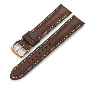 Image 5 - Isap 18mm 19mm 20mm 21mm 22mm pulseira de relógio de couro genuíno pulseira de relógio com rosa ouro pino fivela para tissot omega iwc