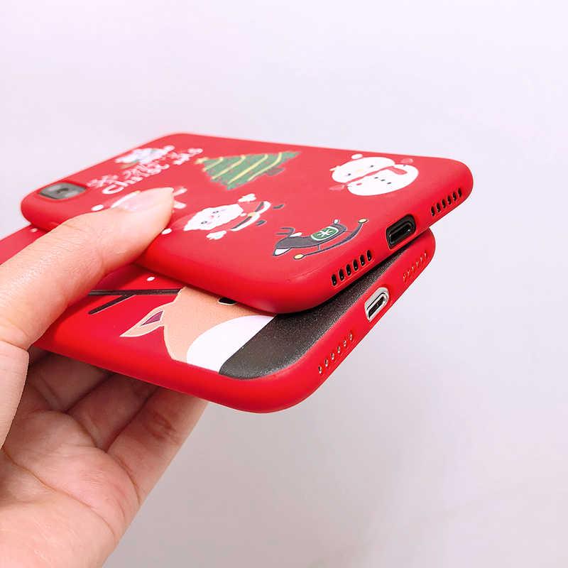 لطيف الكرتون عيد الميلاد الهاتف حقيبة لهاتف أي فون 7 5 ثانية 5 ثانية SE 6 6 7 8 زائد X XR ثانية XS ماكس أزياء جميلة سانتا كلوز الأيائل لينة TPU حالات