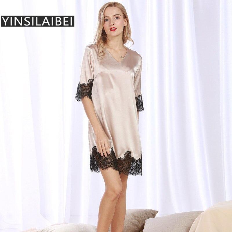 a18d7215578675 YINSILAIBEI Elegante Sexy Zijde Nachthemden Vrouwen Satijn Nachtkleding  vrouwen Zijde Satijn Nachtkleding Vrouwelijke Nacht Jurk SY166  10 in  YINSILAIBEI ...