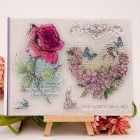 Postage Stamp DIY Scrapbook Transparent Rubber Stamp Seal Red Roses YJ6620