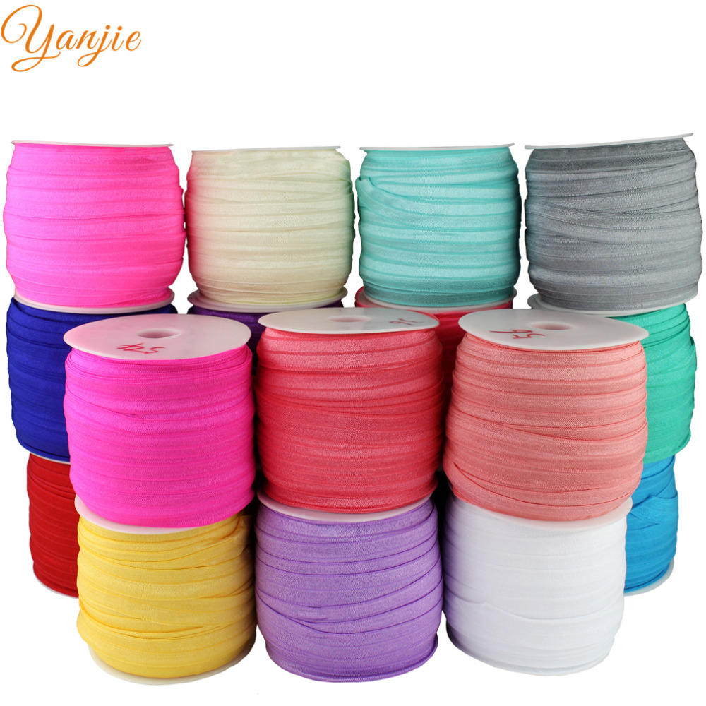 DHL 24rolls 67colors 5 8 Plain FOE Elastic 50Yards roll Elastic For Girls And Kids DIY
