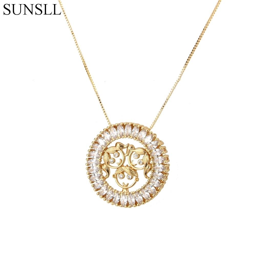 SUNSLL Golden Color Copper White Cubic Zirconia Round Children Pendant Necklaces Women's Fashion Jewelry CZ Colar Feminina