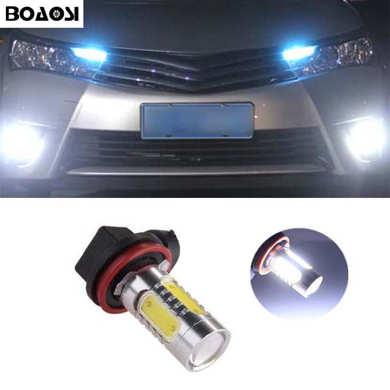 BOAOSI 2x H11 Led COB 7.5W LED Car Fog Light Bulbs For Toyota Prius Camry 2007-2014 Corolla 2011-2014 Car Accessories special car trunk mats for toyota all models corolla camry rav4 auris prius yalis avensis 2014 accessories car styling auto