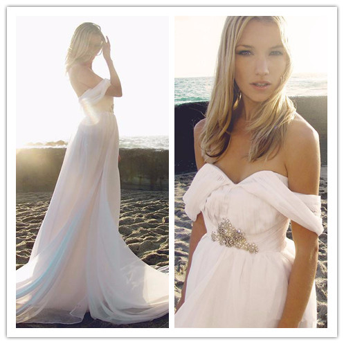 Hot Summer Style Backless Fashion Wedding Dresses Flowing Elegant ...