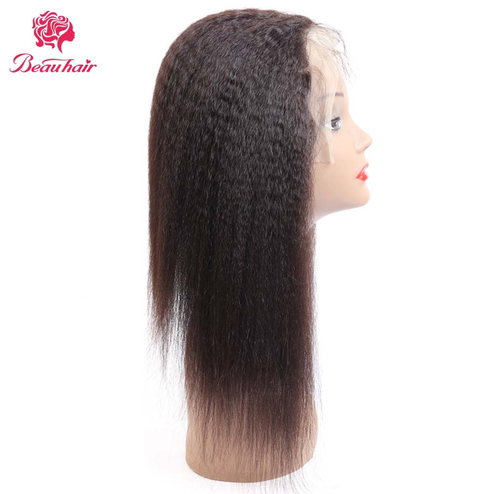 Malaysian Kinky Straight Hair Lace Frontal Closure 13x4 Swiss Lace Ear To Ear Remy Human Hair Frontal 150% Density Beau Hair