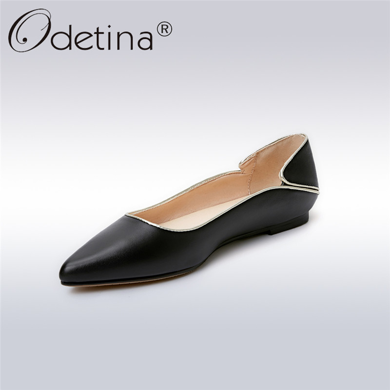 Odetina 2018 New Fashion Woman Genuine Leather Pointed Toe Flat Shoes Comfortable Ladies Ballerina Flats Slip On Big Size 32-42 odetina 2017 new women pointed metal toe loafers women ballerina flats black ladies slip on flats plus size spring casual shoes