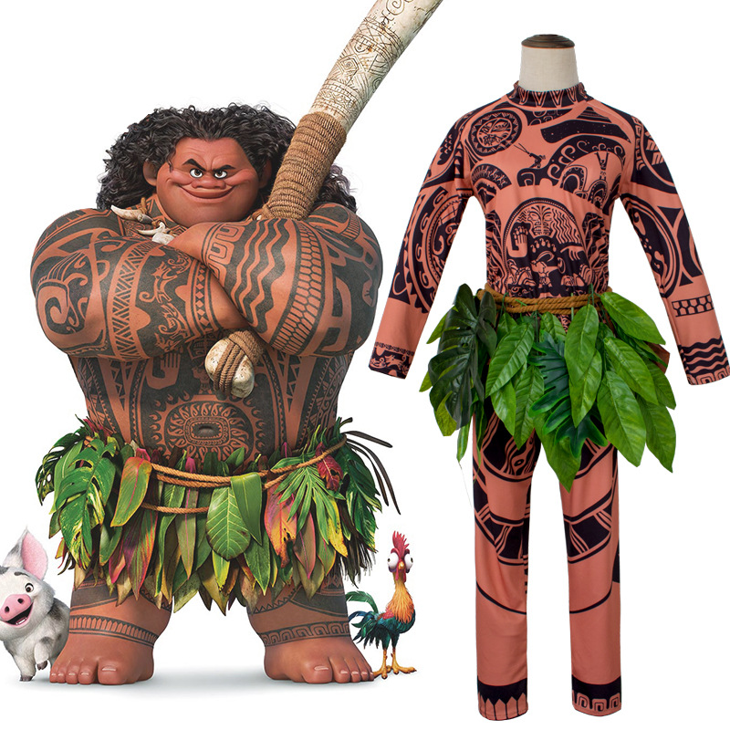 Cartoon Movie Moana Maui Cosplay Costume Men's Fashion Halloween Carnival Party Costume Printed T-shirt Pants Grass Skirt