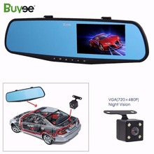 Buyee 1080P Full HD 4.3 LCD Dual lens vehicle dashboard camera Car DVRs Dashcam Video Recorder rear view mirror
