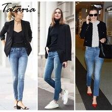 Tataria Skinny Slim Jeans For Women Vintage Style Black Women's Jeans Female Denim Pencil Pants Stretch Korean Jeans For Woman