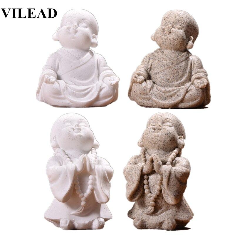 VILEAD 6cm 7cm Cute Little Monk Statue Sandstone Adorable Thailand Buddha Statuettes Lovely Figurine Home Decor Creative Gift