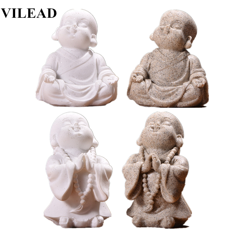 VILEAD 6cm 7cm Cute Little Monk Statue Sandstone Adorable Thailand Buddha Statuettes Lovely Figurine Home Decor Creative Gift