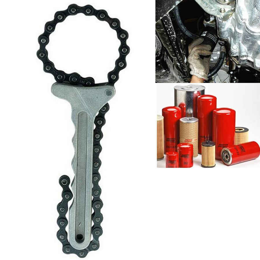 Auto Car Adjustable Engine Oil Filter Chain Grip Wrench Spanner Remover Tools Plier Kit