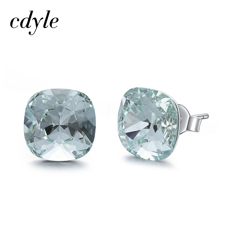 Cdyle Crystals from Swarovski Earrings Silver 925 Square Stone Stud  Earrings For Women's Gift Tiny Simple Ear Jewelry Wholesale