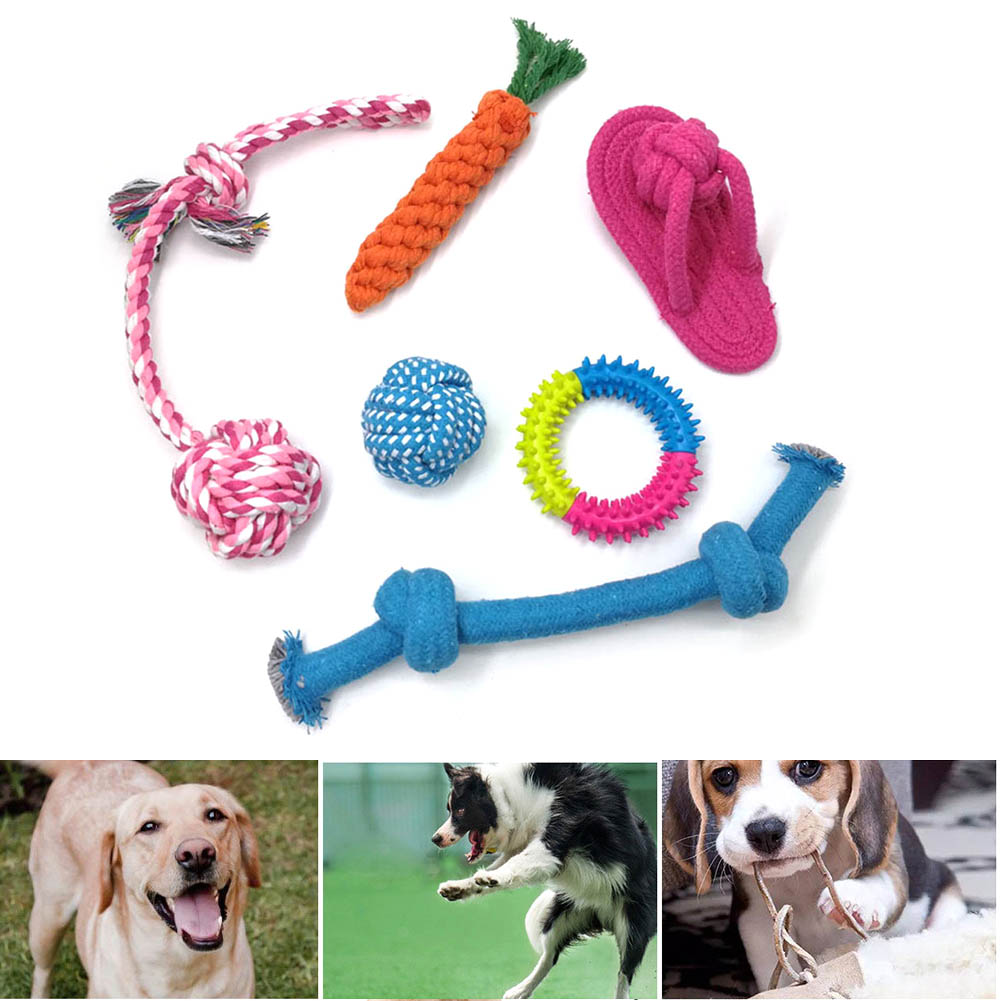 4 5 6 Pcs Pet Chewing Toy Set Cotton Rope Wear Resistant Teeth Cleaning Toys for Cats Dogs Hot Sale in Dog Toys from Home Garden