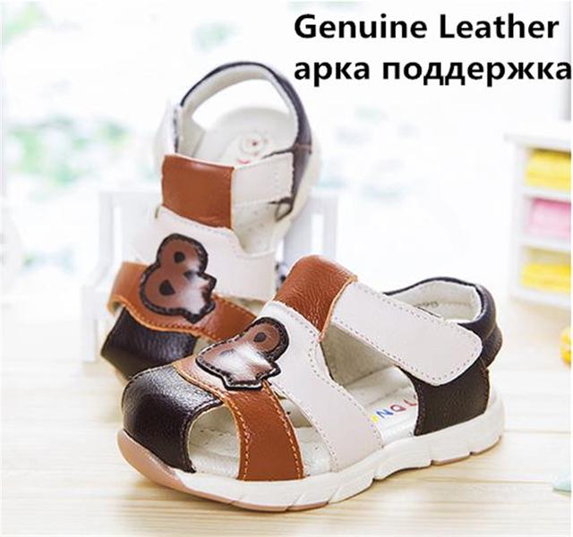 Venda quente 1 par antiderrapante genuínos crianças sandálias de couro do bebê menino arco apoio kids shoes, crianças suave sole shoes, de alta qualidade