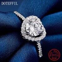 AAA de Alta Calidad Zircon Del Corazón 100% Anillos de Plata Esterlina para Las Mujeres Wedding Party Fashion Charm Corazón Anillos