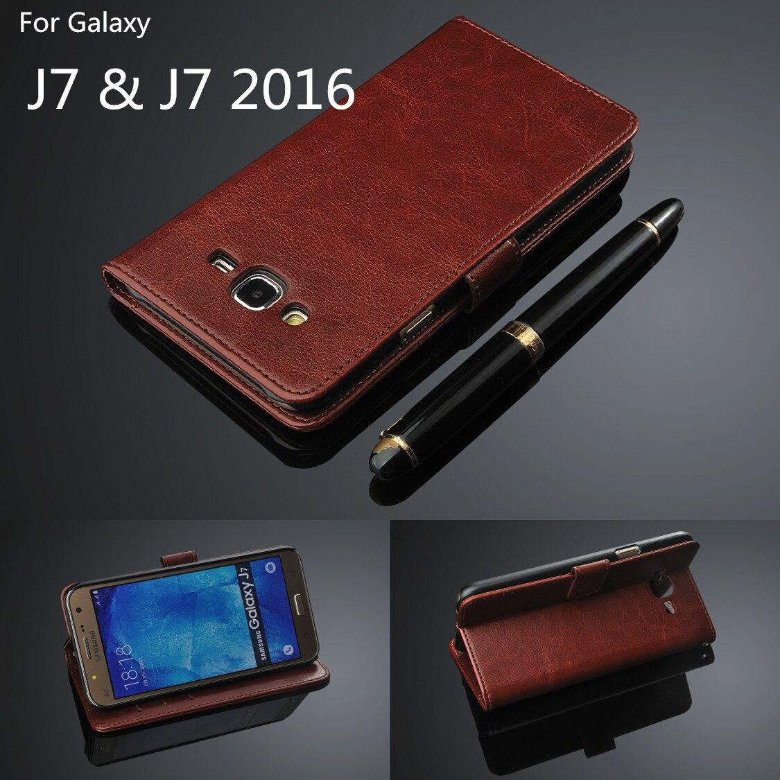 Porte-carte couverture étui pour samsung Galaxy J7 2016 J710F J710 cuir coque de téléphone portefeuille couverture rabattable pour Smasung Galaxy J7