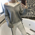 OFTBUY 2017 spring autumn korean casual college fashion wool knitting gray black off shoulder oversized sweater women pullovers