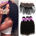 Mongolian Curly Hair With Lace Frontal Closure 13x4 Ear to Ear Lace Frontal Closure With Bundles 3 Bundles with Frontal Closure