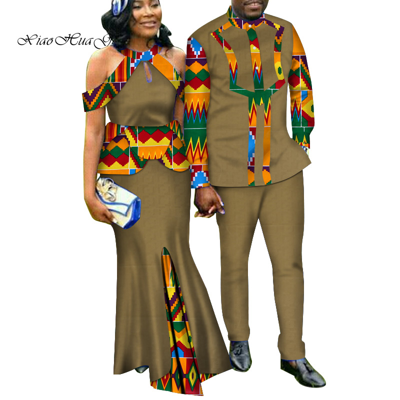 Two Piece Set African Dashiki Print Couple Clothing for Lovers Men's Suit Plus Women's Party Maxi Dress WYQ188