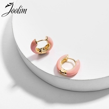 JOOLIM Black Purple Blue Pink White Enamel Hoop Earring Design  High Quality Jewelry Wholesale