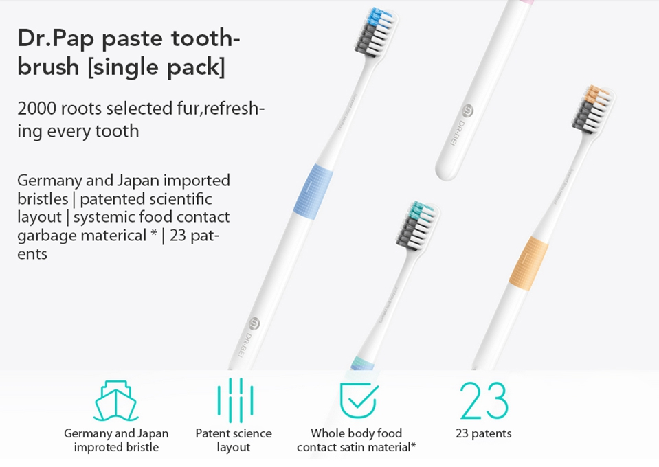 4PCS Xiaomi Doctor Bei Bass Tooth Mi Brush Handle Manual Eco-friendly Tooth MI brush with Travel Box (1)