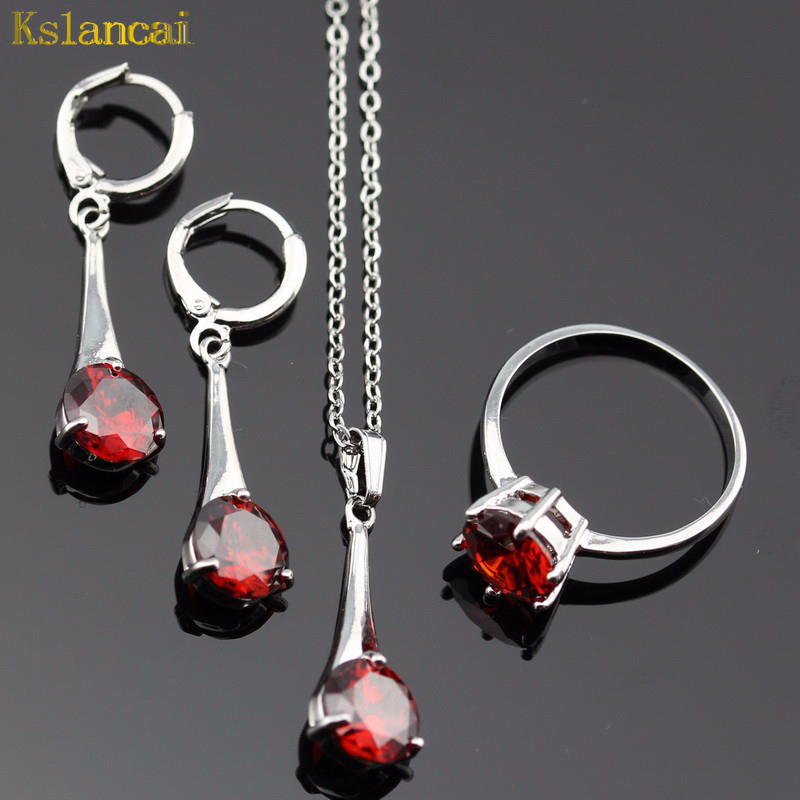 Lan Classic Choker Silver Planted Jewelry Sets AAA Zircon Red Garnet Ring Necklace&Pendant Earring For Wedding