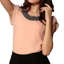 2017 NEW fashion women chiffon casual vintage Blouses Beading O-neck Pullover shirts Nude pink